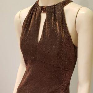 slinky copper metallic evening dress 1980's S